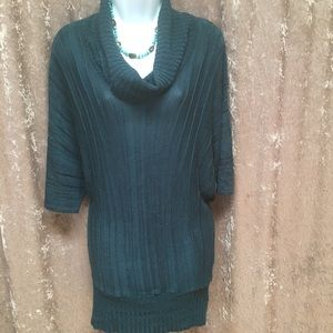 Sweaters - Dark turquoise tunic sweater with cowl neck
